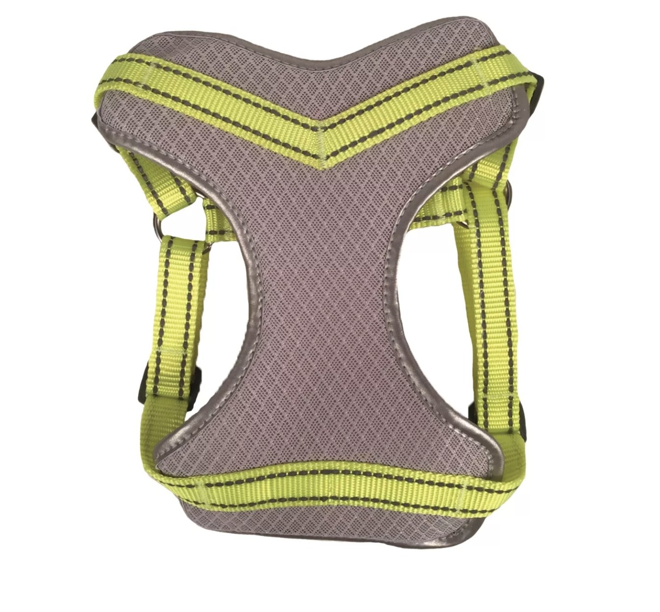 The gray mesh dog harness with neon yellow straps