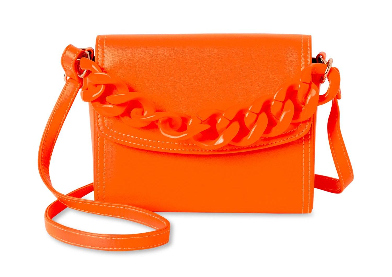 orange crossbody bag with resin chain