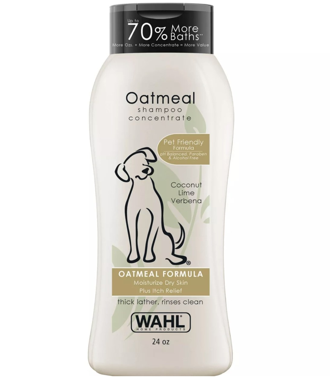 A bottle of the coconut-scented oatmeal dog shampoo
