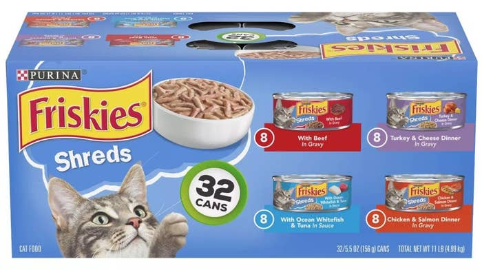 A case of the Friskies canned cat food