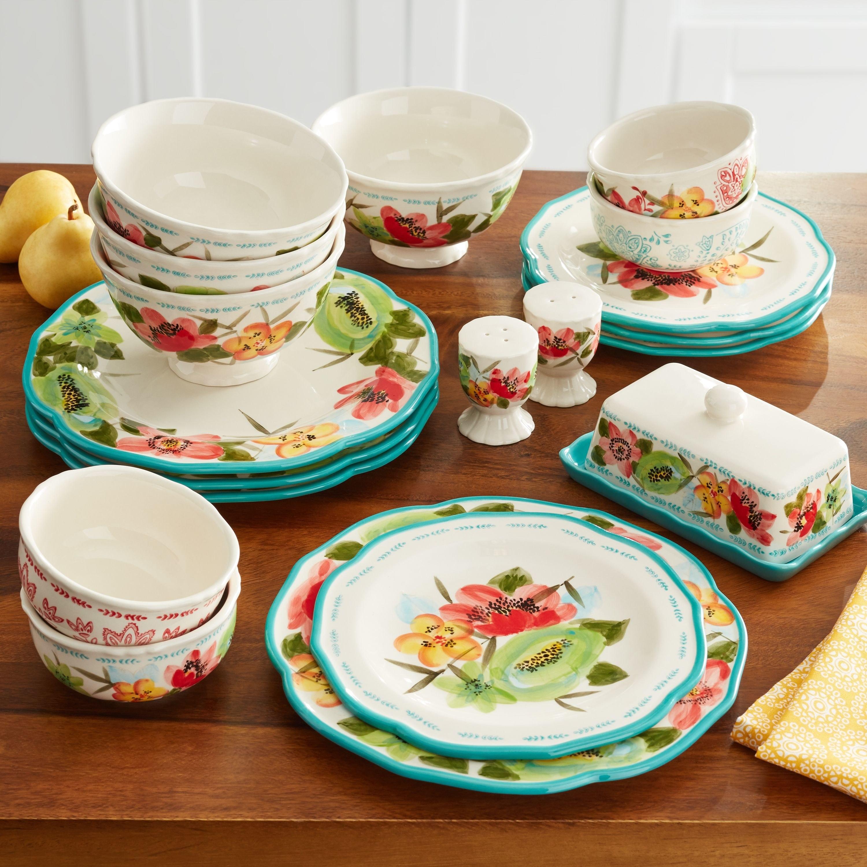 dinnerware set in a floral print