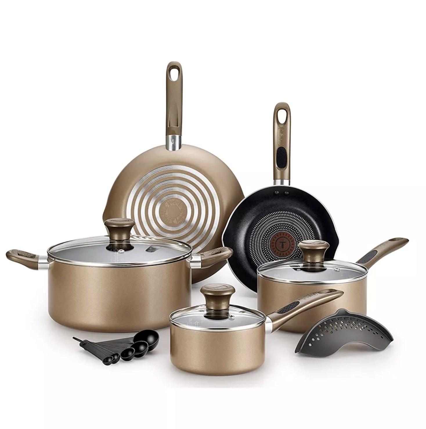 A 14-piece non-stick bronze cookware set