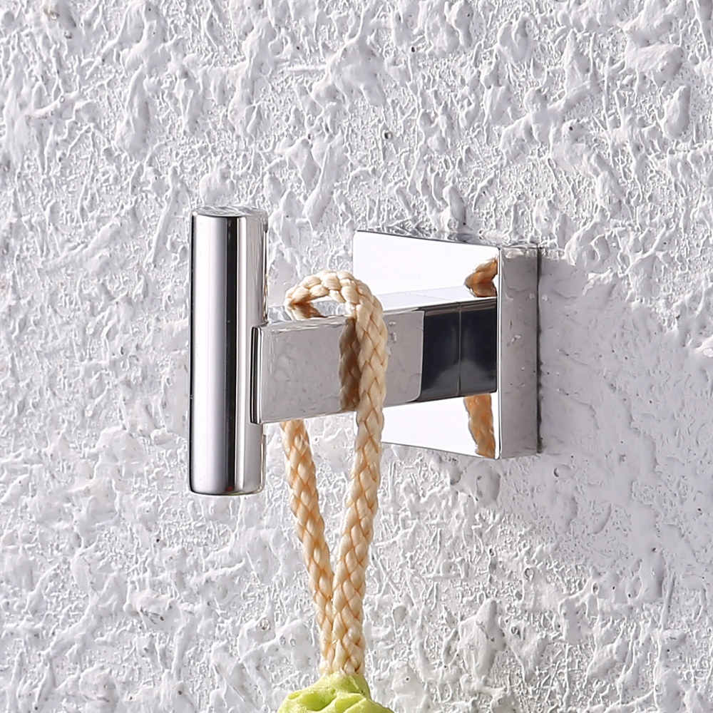 stainless steel wall hook on a textured wall