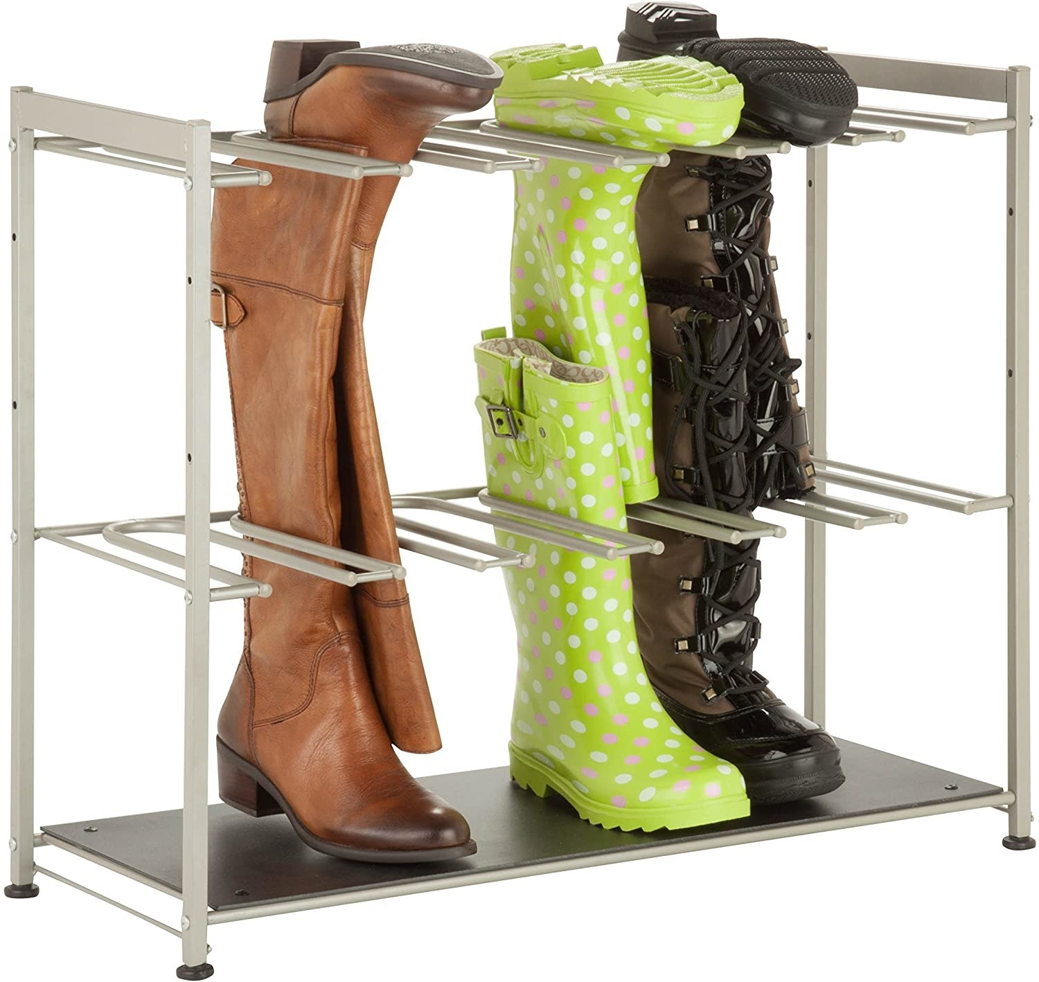 A shoe rack filled with tall boots