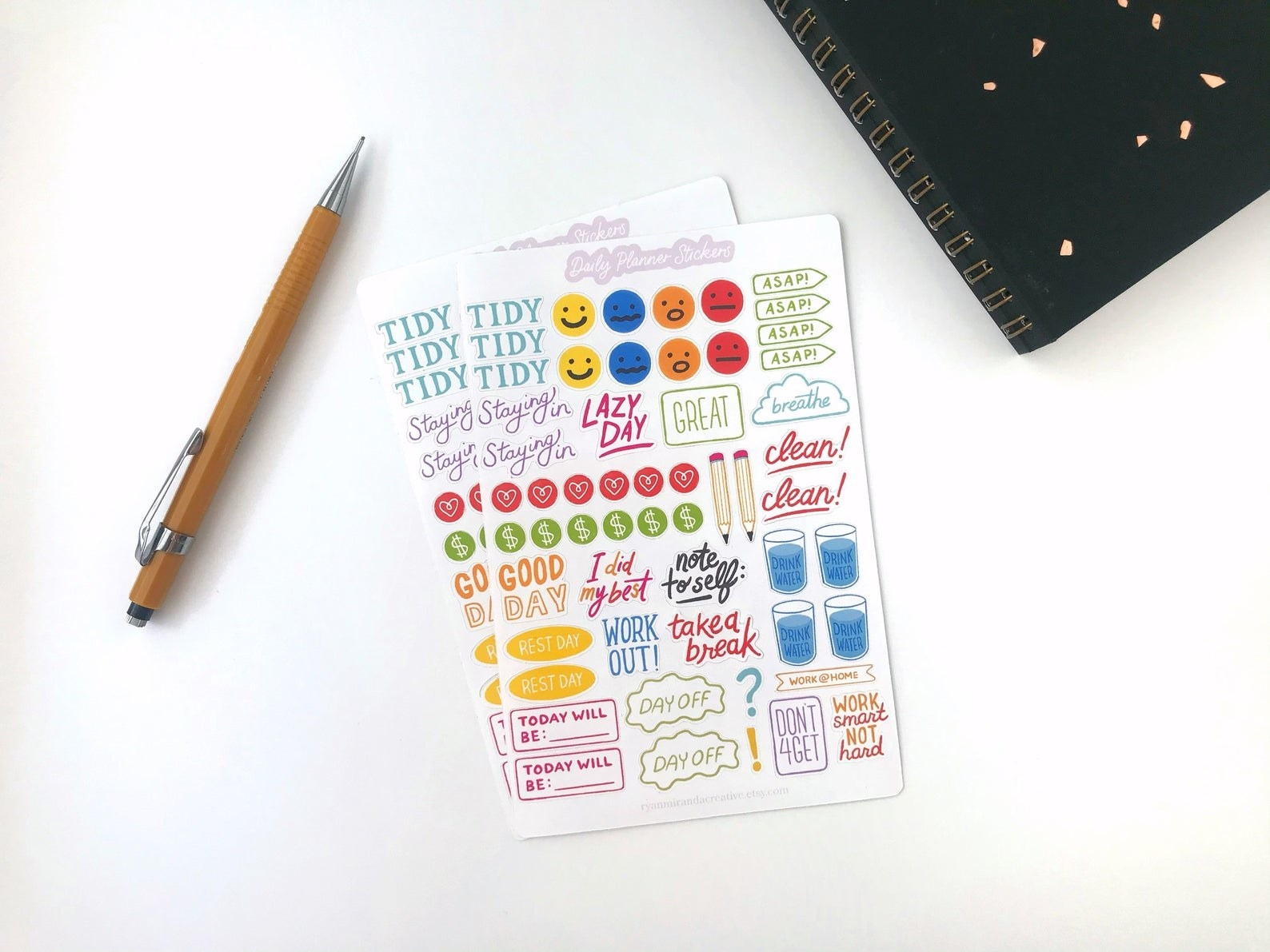 Two packs of stickers with text reminders for tasks