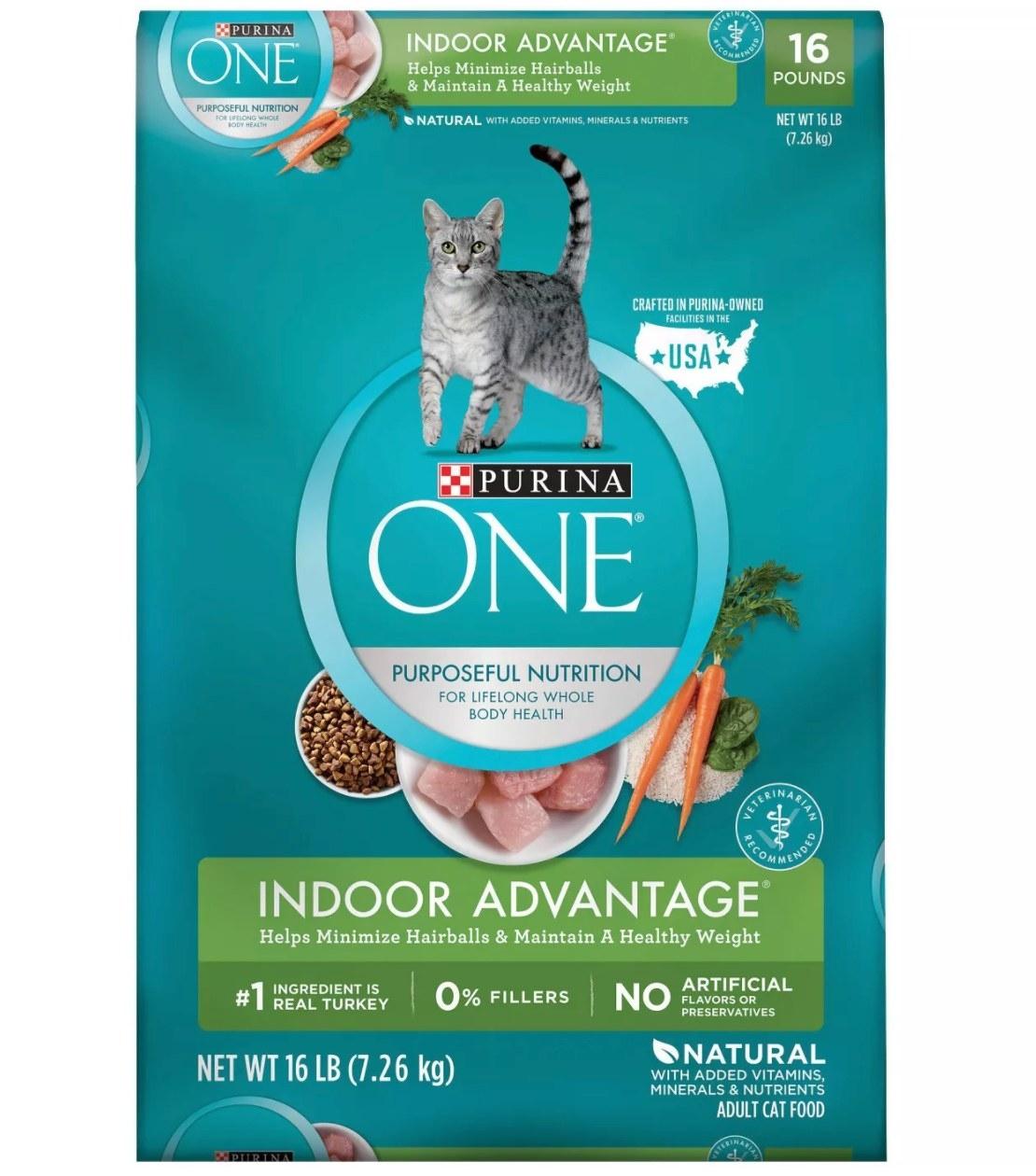 Bag of Purina One Indoor Advantage Cat Food