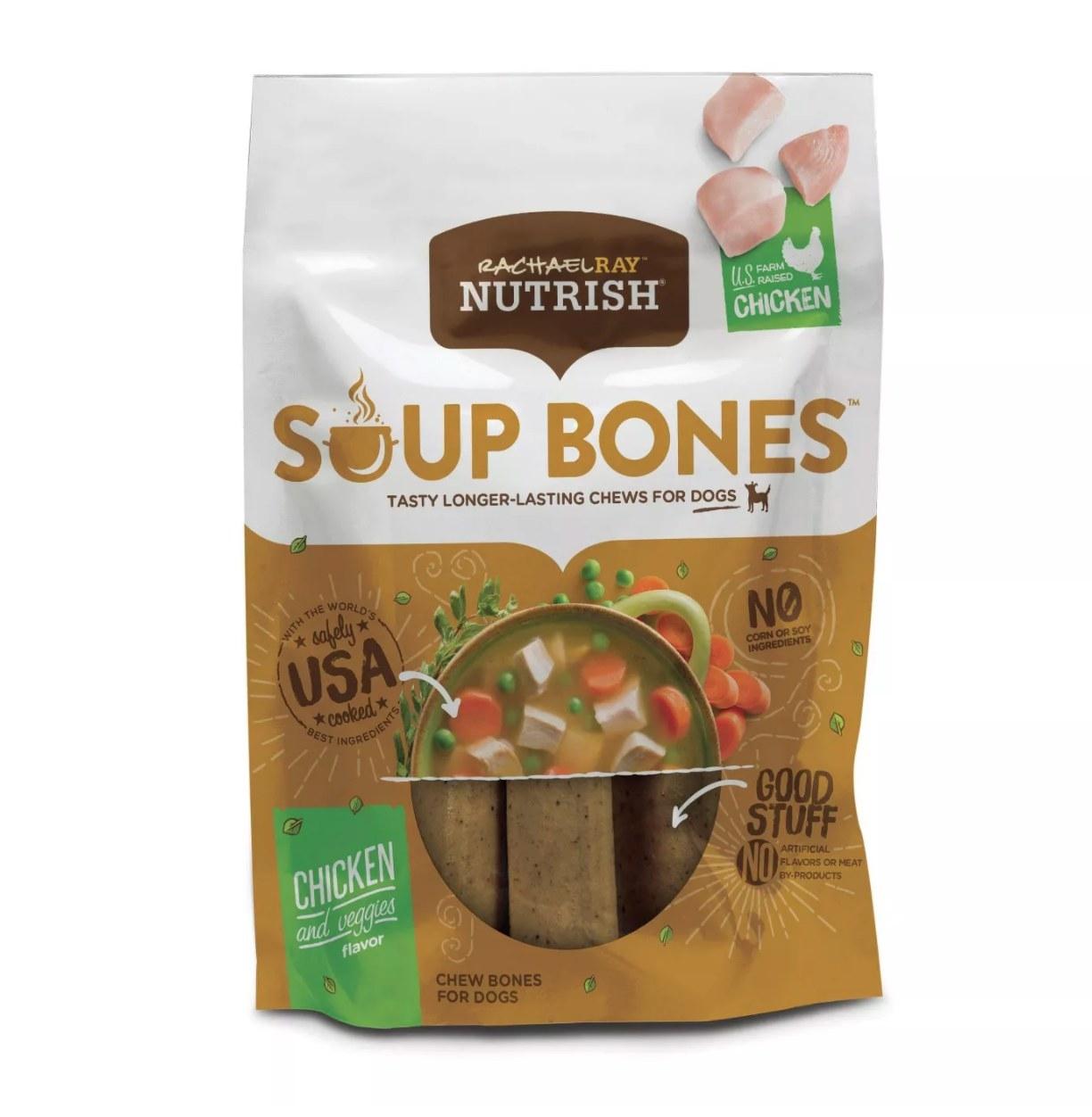 Bag of chicken and veggie flavor soup bones