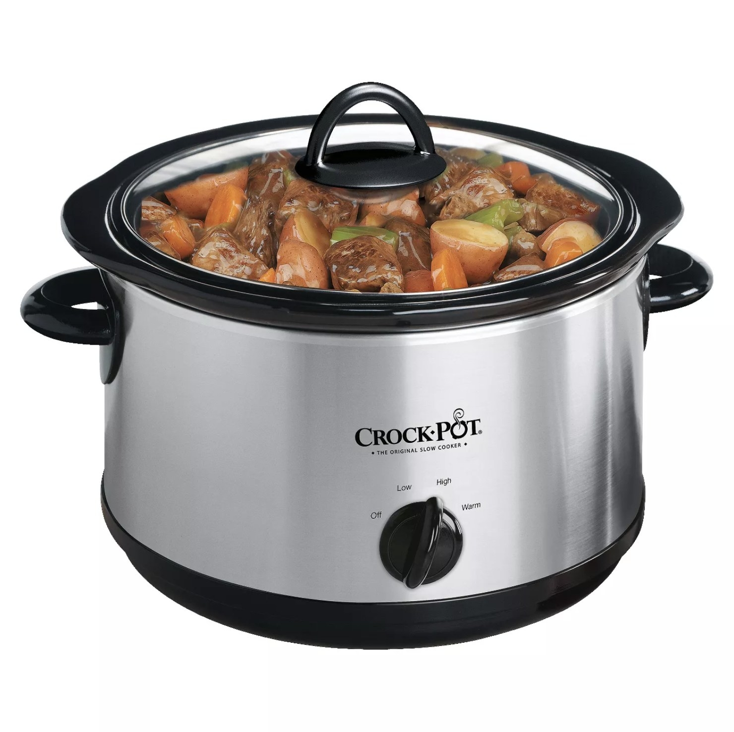 A Crock-Pot 4.5qt manual slow cooker with beef stew inside in