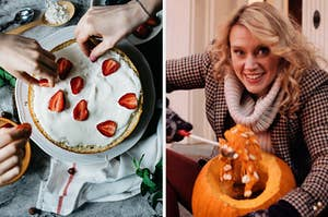 """On the left, people place strawberry slices on top of a cake, and on the left, Kate McKinnon wears a coat, scarf, and gloves as she carves a pumpkin in an """"SNL"""" sketch"""