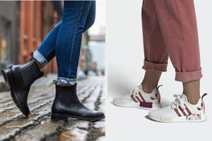 (left) Black Chelsea boots (right) White sneakers with pink and floral design