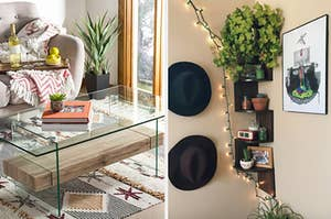 On the left, a floating glass coffee table next to a gray couch with a wine caddy and blankets. On the right, a three-tier plant stand against a brick wall