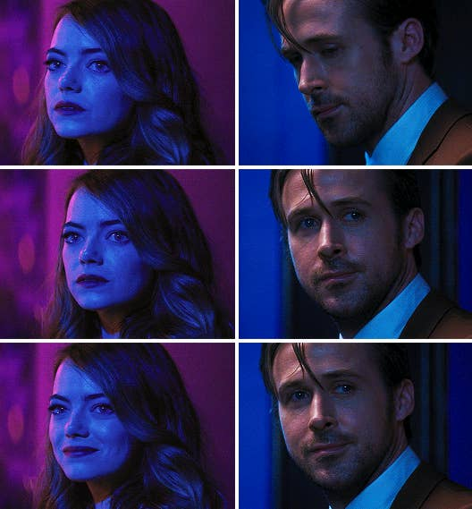 Mia and Sebastian taking one last look at each other at the jazz club, with love and sadness