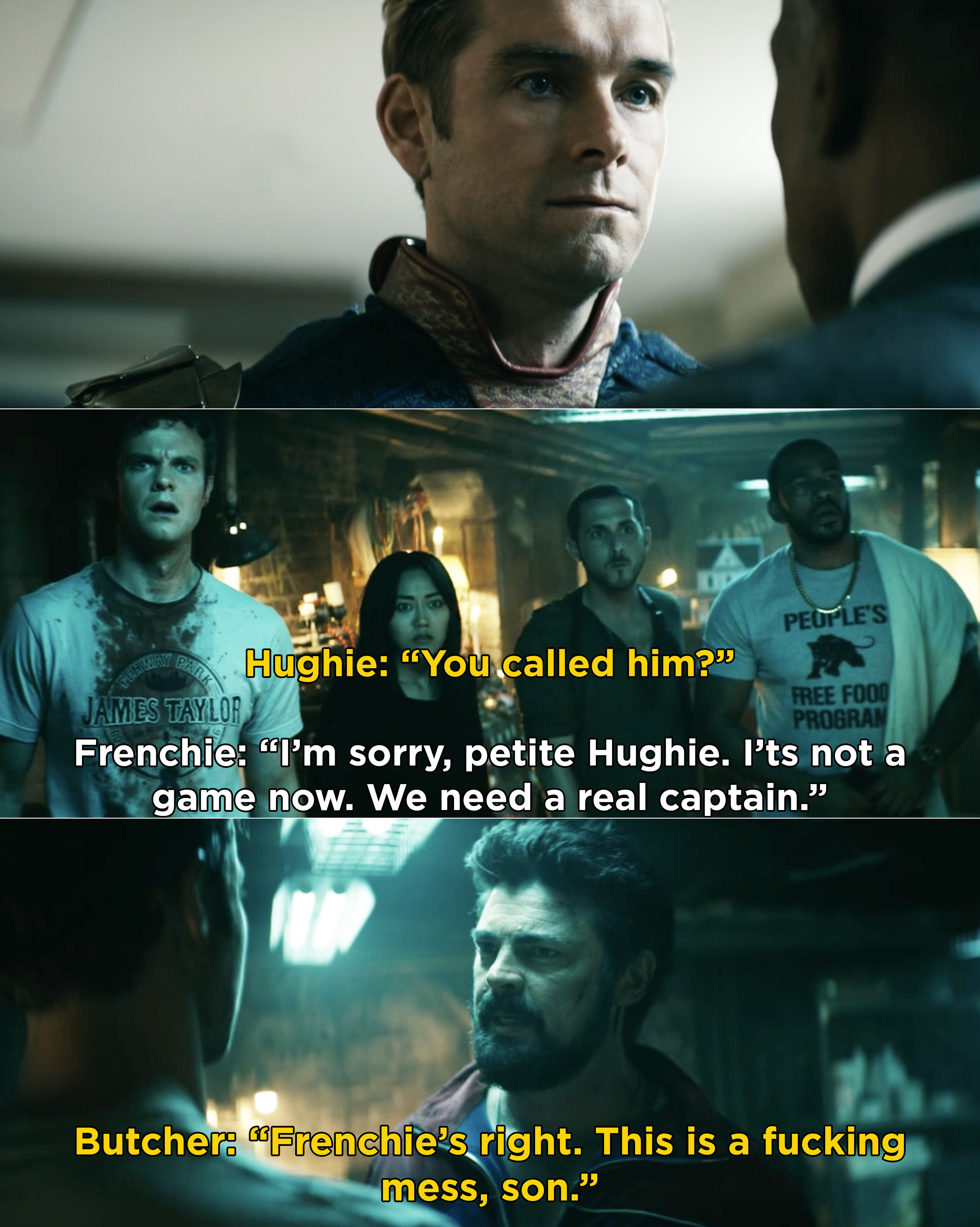 """Hughie asking why Frenchie called Butcher and Frenchie saying they need a """"real captain"""""""