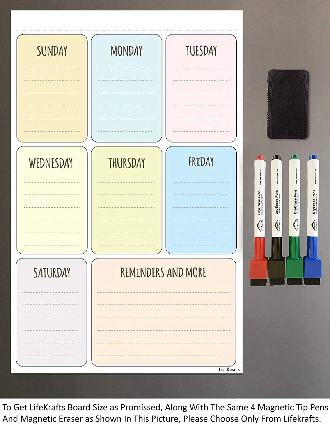 The dry erase sheet with columns for each day of the week, 4 markers, and a duster.