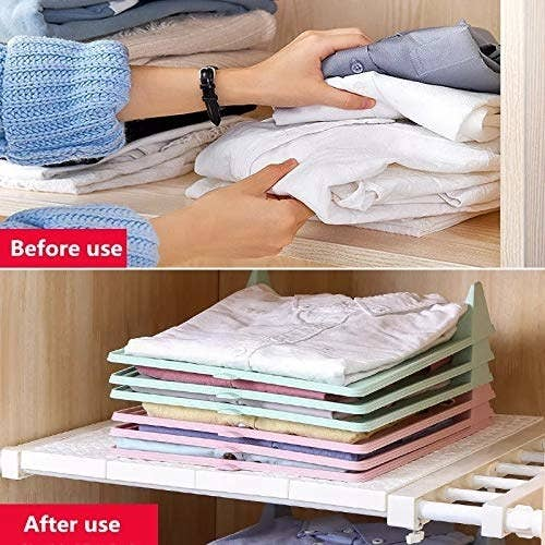 A before and after photo of how the wardrobe organiser works. The after photo shows a more ordered wardrobe with shirts neatly folded and placed in it.