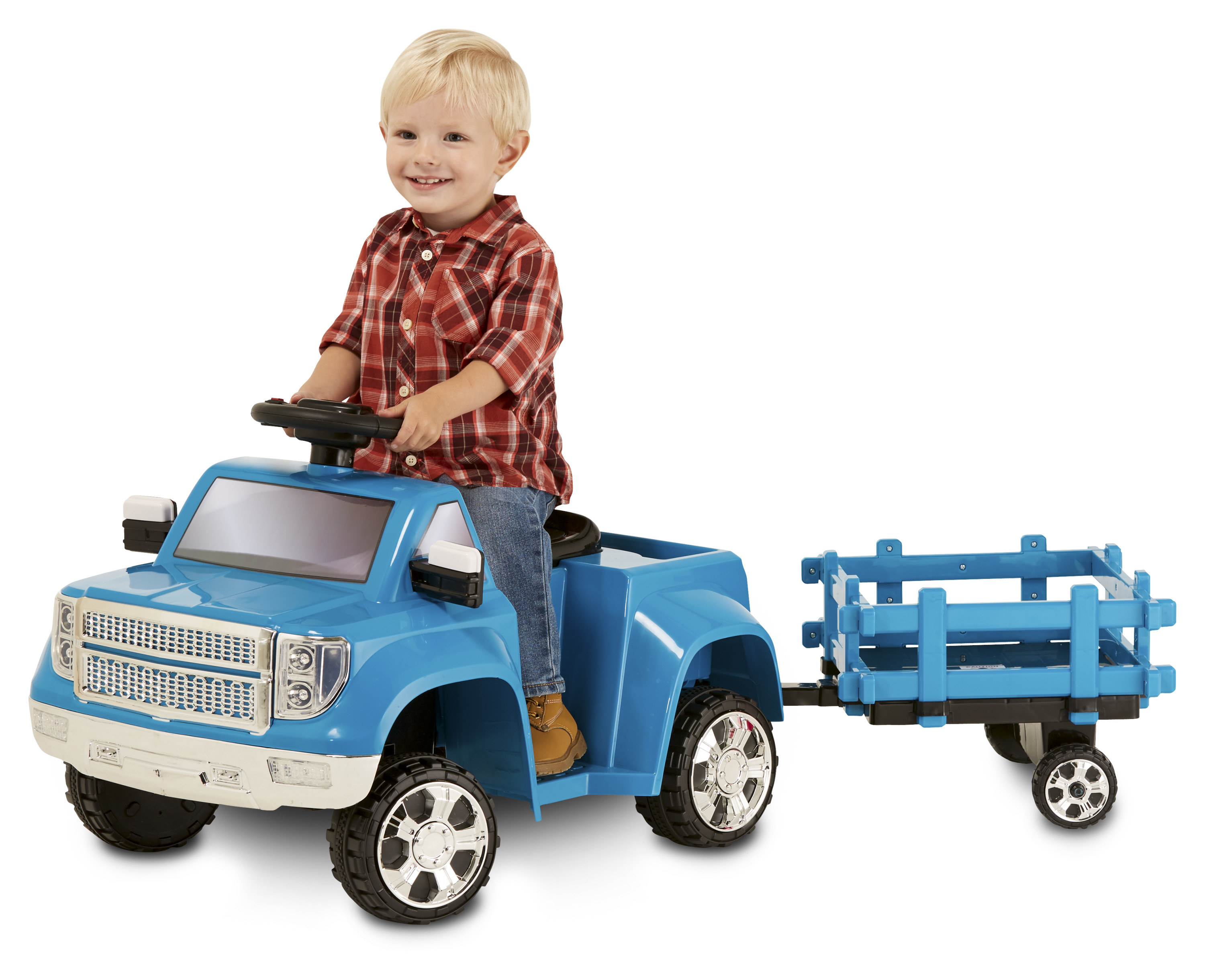 kid riding a blue toy truck with a pretend trailer behind it