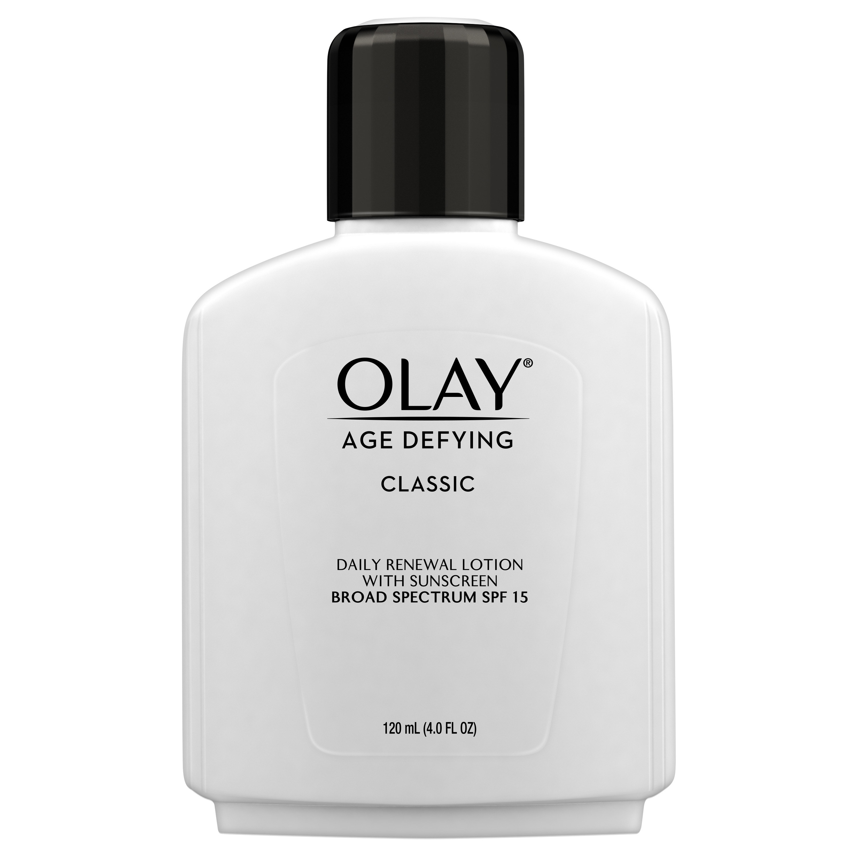 bottle of olay lotion on a white background