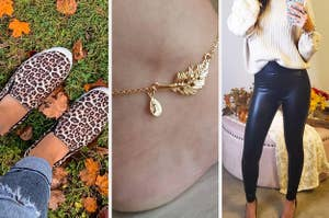 Cheetah print slip-ons, leaf-inspired anklet, leather leggings