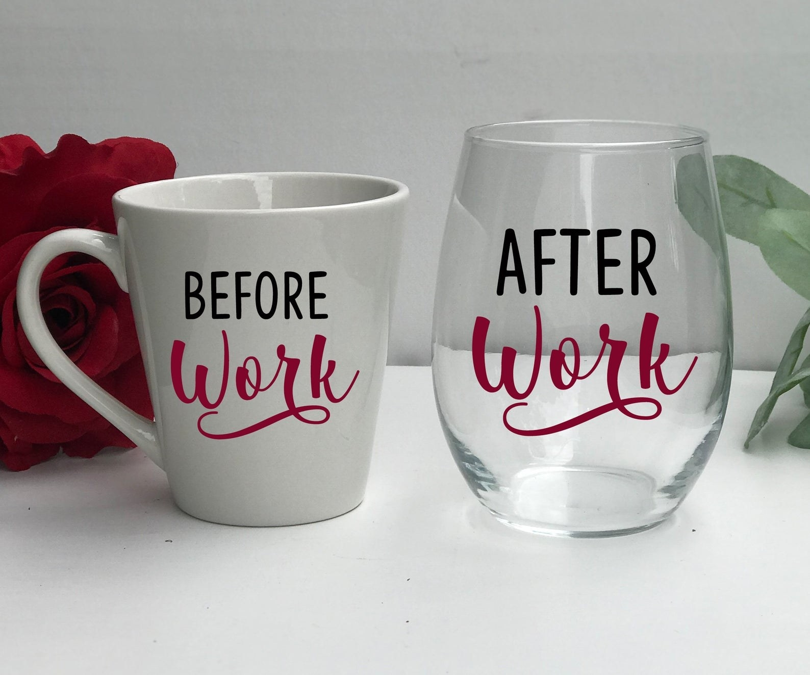 "A ""before work"" mug and ""after work"" wine glass"
