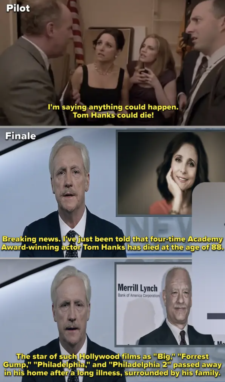 "Side-by-side of the pilot episode of ""Veep"" where Mike hoped Tom Hanks would die, compared to the finale where he reported on Hanks's actual death"