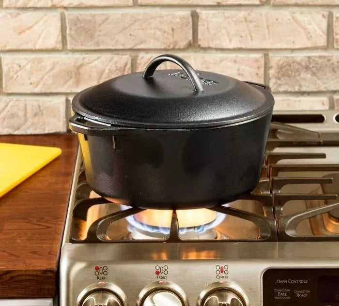Pot over open flame stovetop
