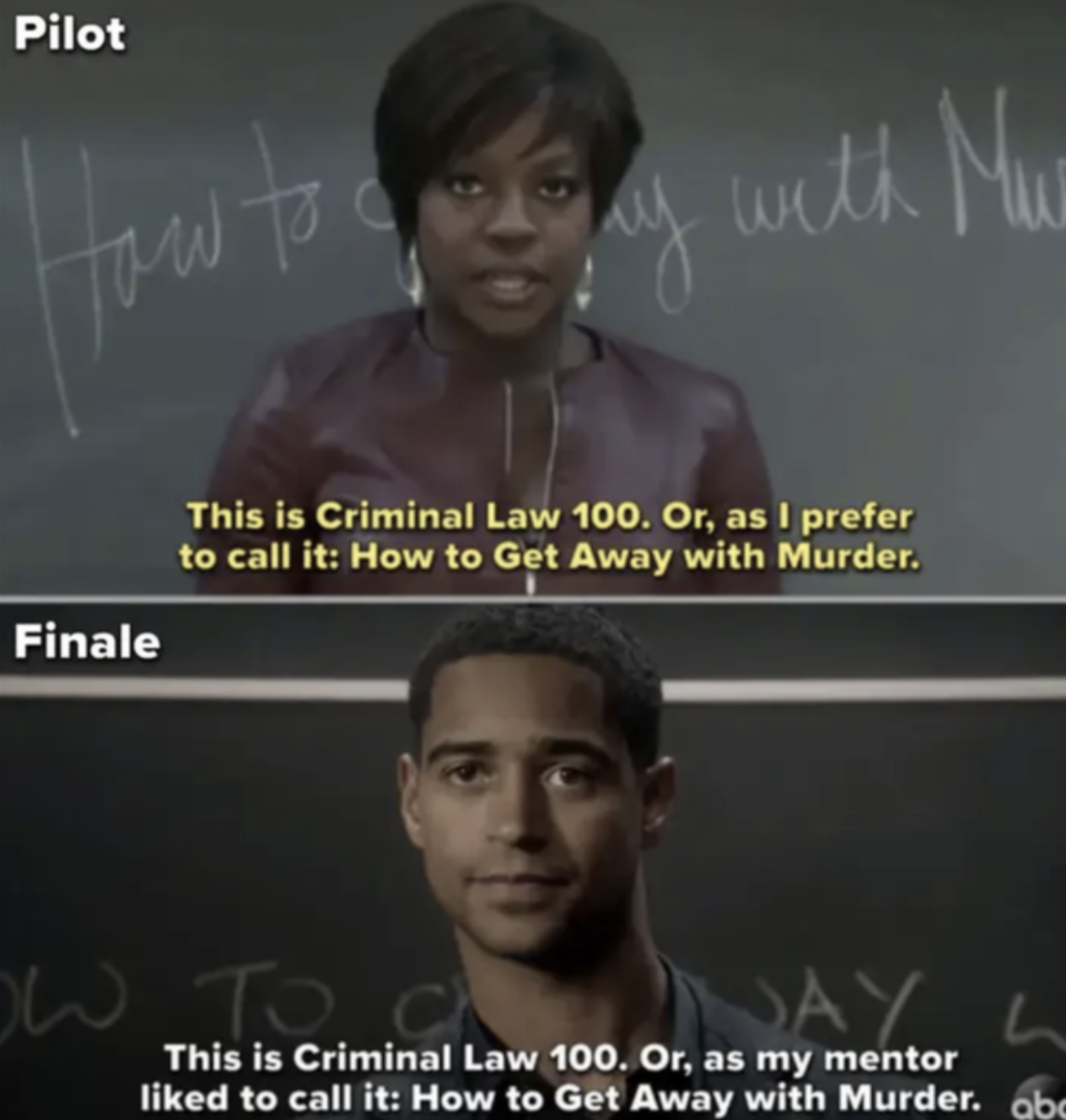 Side-by-side of the pilot episode where Annalise introduces herself to the class vs. Christopher introducing himself to the class