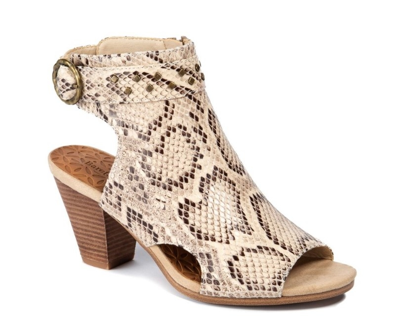 Snake skin print booties with open toe and open heel and wooden heel