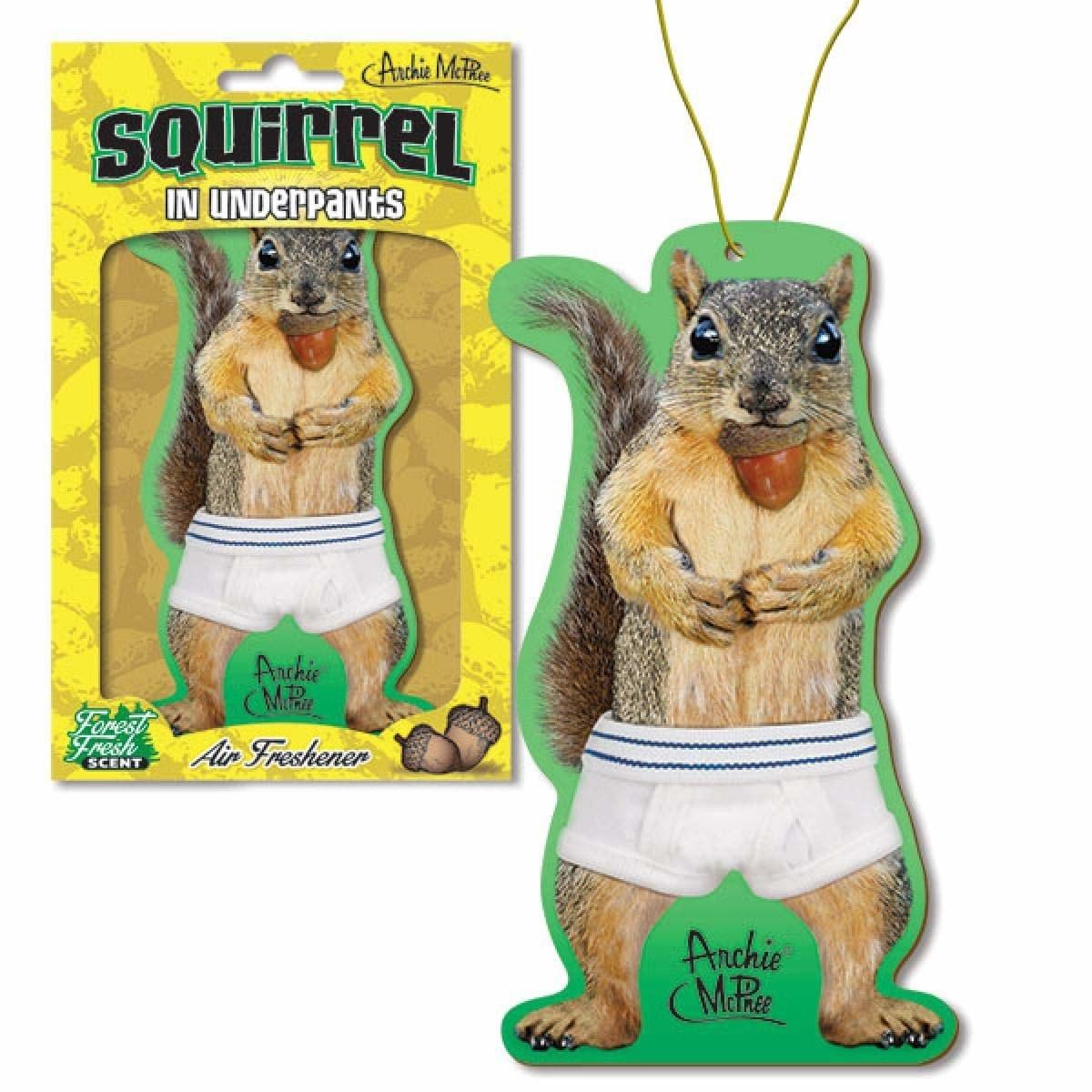 car air freshener shaped like a squirrel wearing human underpants