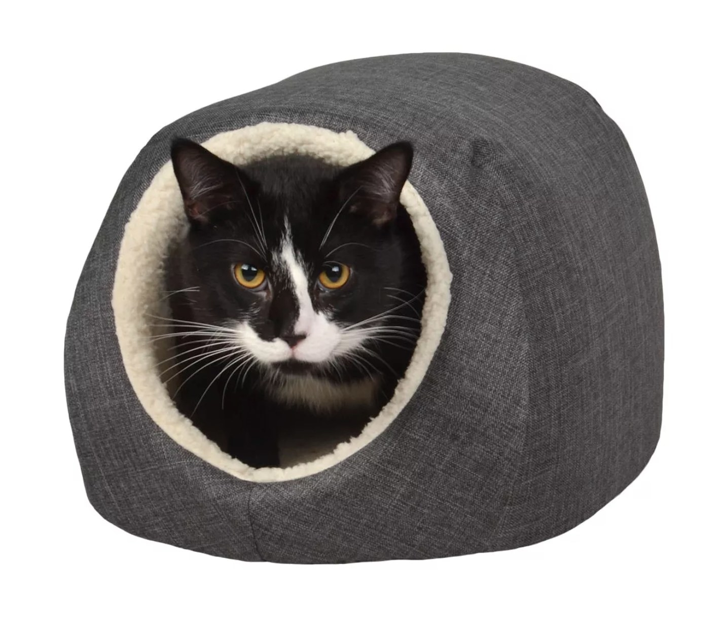 The cozy gray and cream-colored pet cave