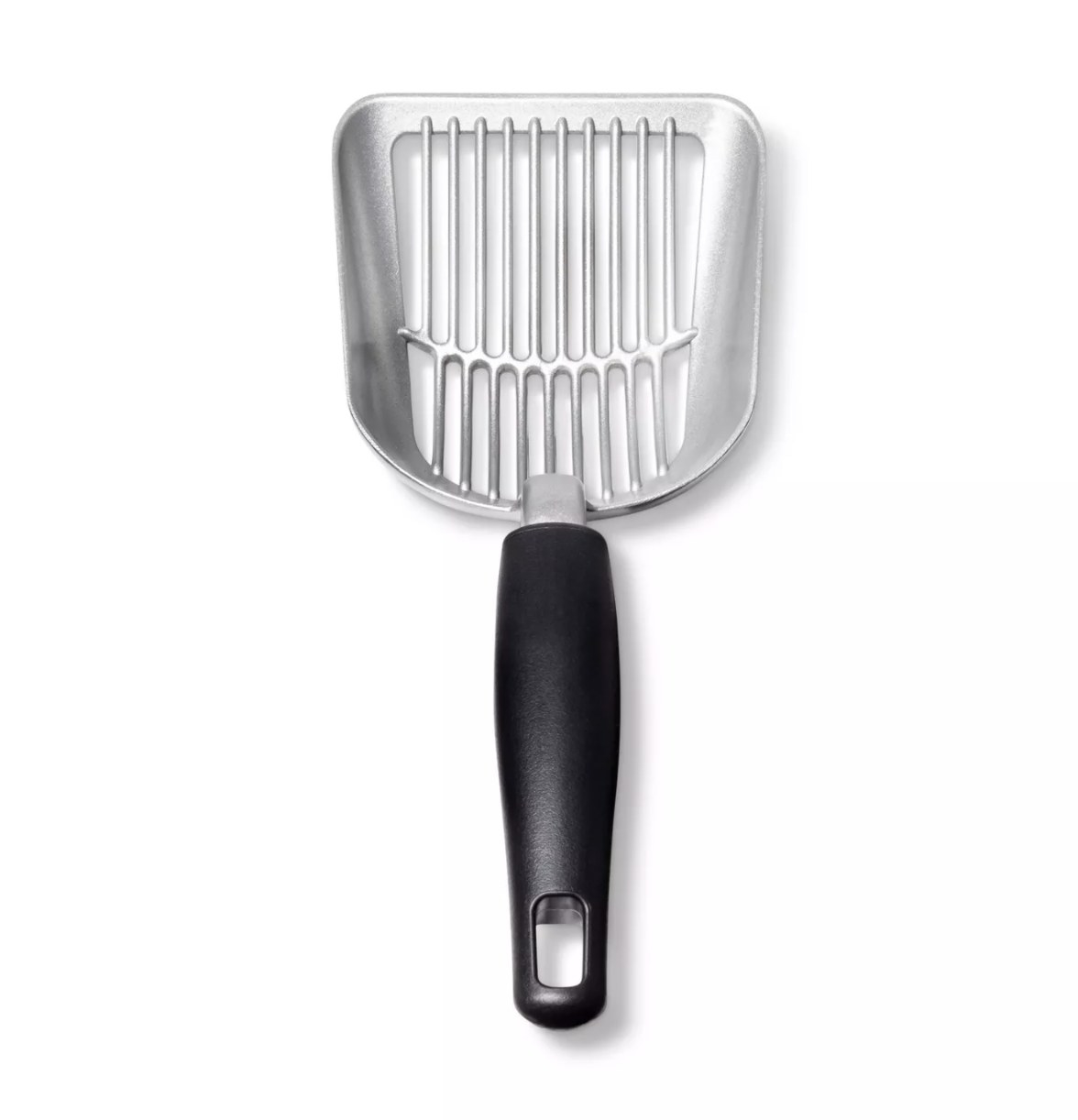 The silver and black cat litter scoop