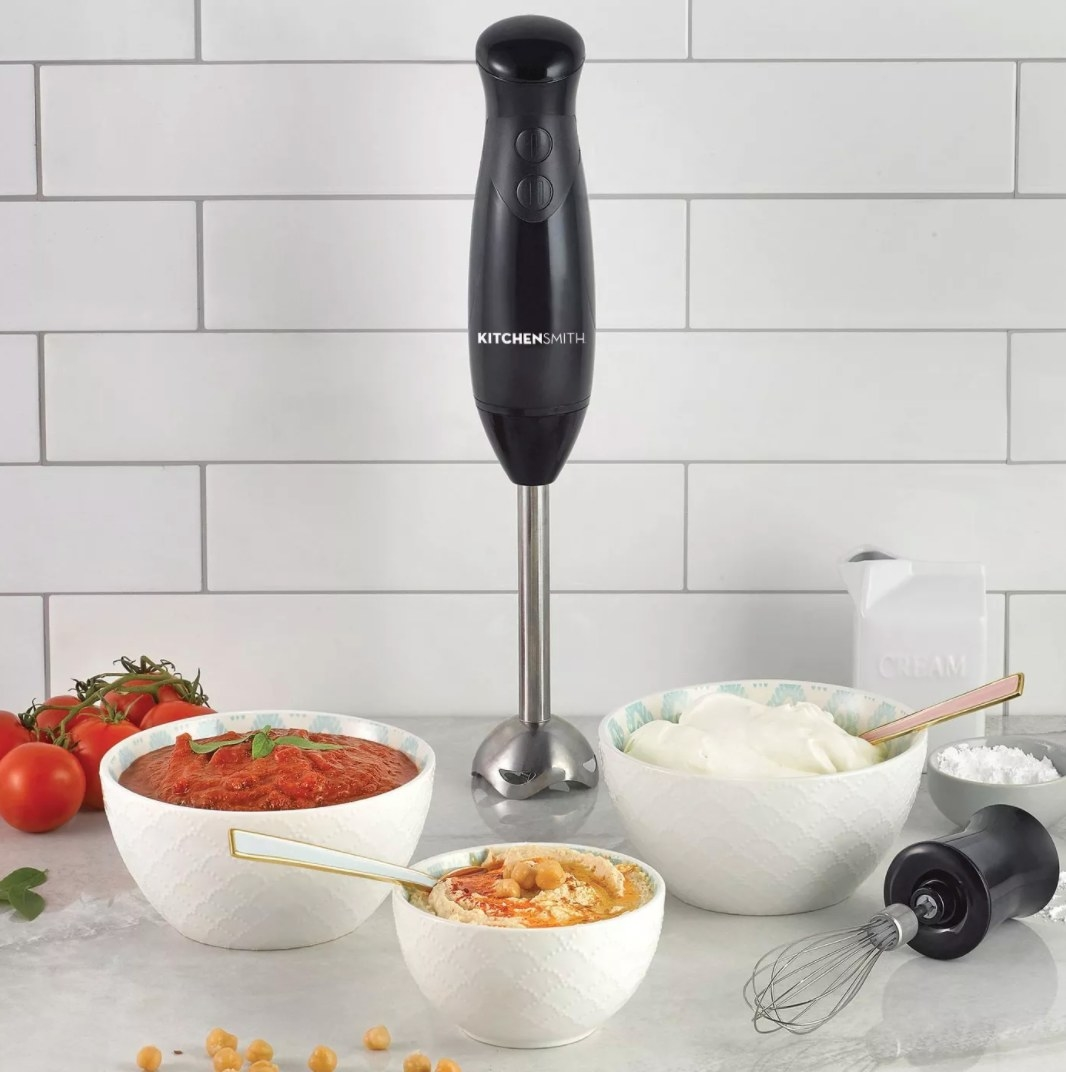 The immersion blender being used to make various dips