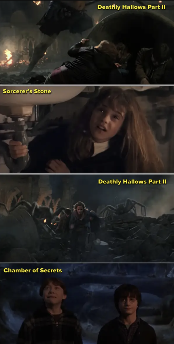 "Comparisons of the earlier monsters in the ""Harry Potter"" movies to the final Battle of Hogwarts in the last movie"