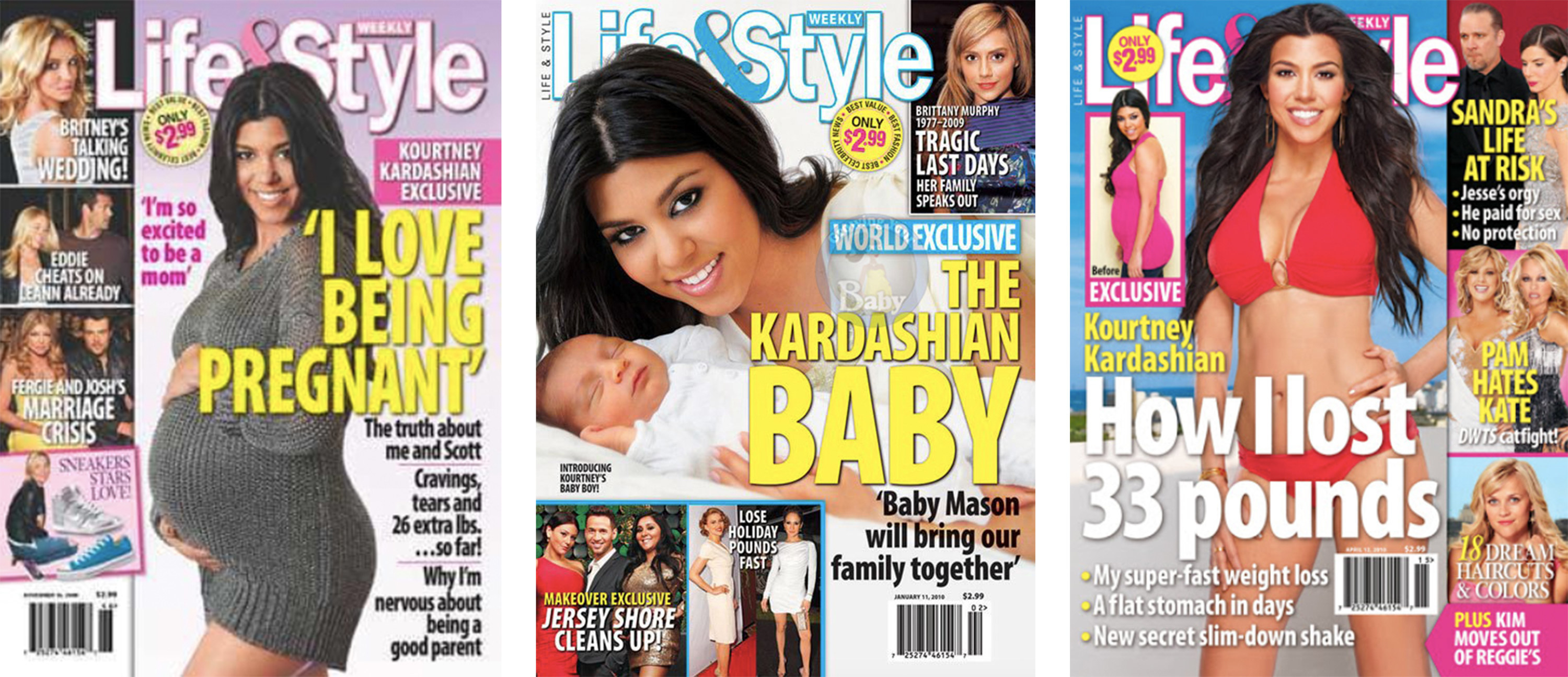 Life & Style magazine covers following Kourtney's pregnancy, new baby, and post-pregnancy body