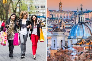 Three women shopping and the skyline of Rome, Italy