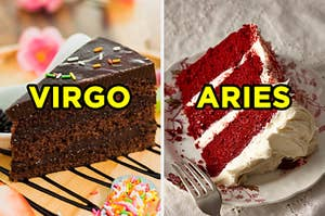 """On the left, a slice of chocolate cake topped with sprinkles labeled """"Virgo,"""" and on the right, a slice of red velvet cake labeled """"Aries"""""""