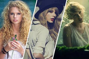 Taylor Swift at the beginning of her career, the middle, and the present