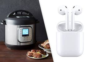A split thumbnail of an instant pot and Apple AirPods
