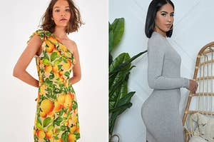 to the left: a model in a one-shouldered orange print dress, to the right: a model in a grey ribbed bodycon dress