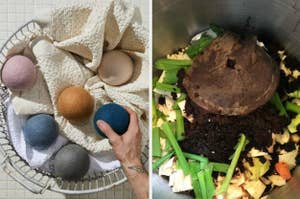 On the left, hand holds dryer blue dryer ball used after laundry. On the right, reviewer shows interior of silver compost bin filled with veggies