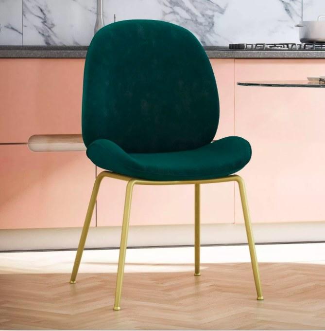 The velvet chair in green