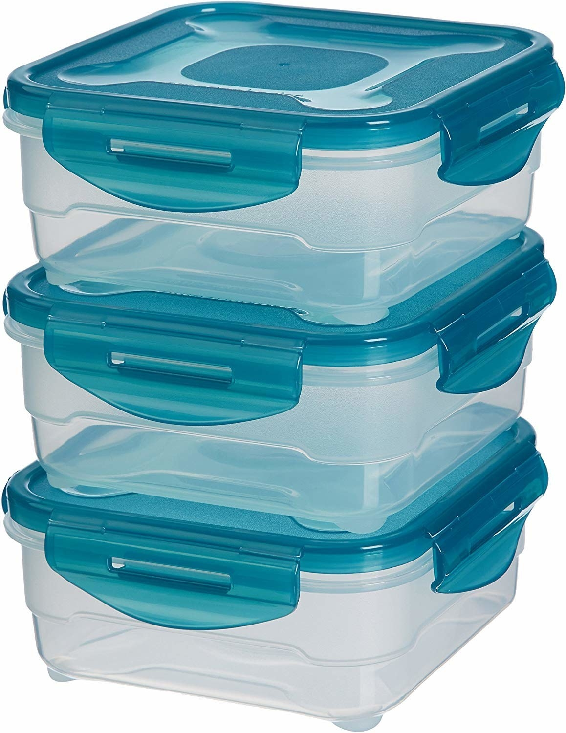 A set of plastic airtight food storage containers with blue lids