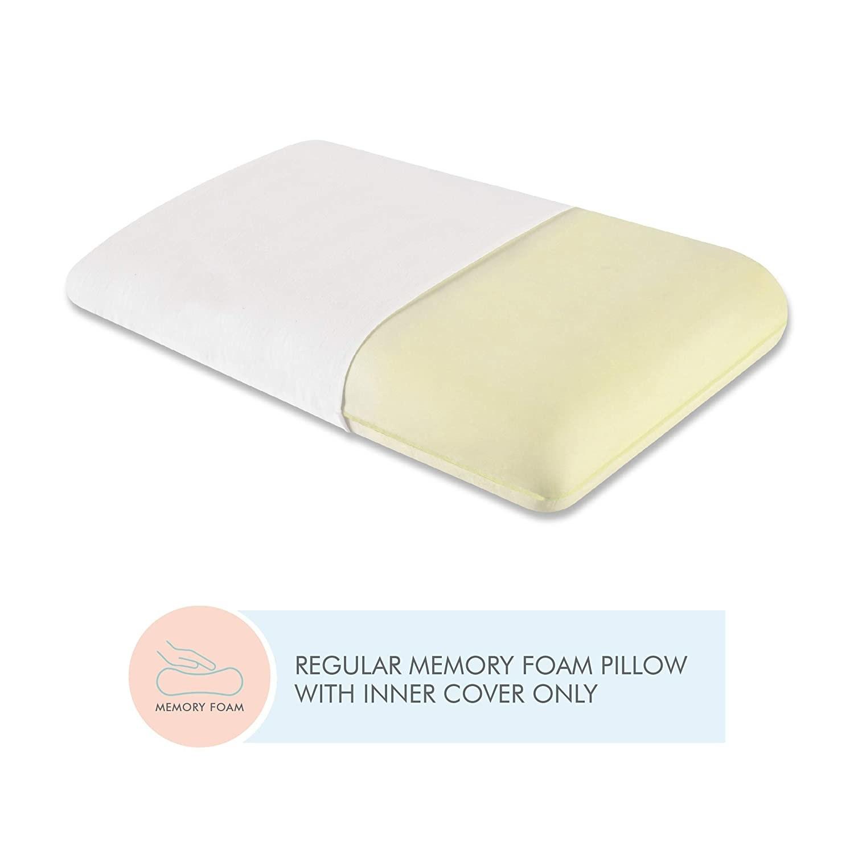 A cream and white memory foam pillow