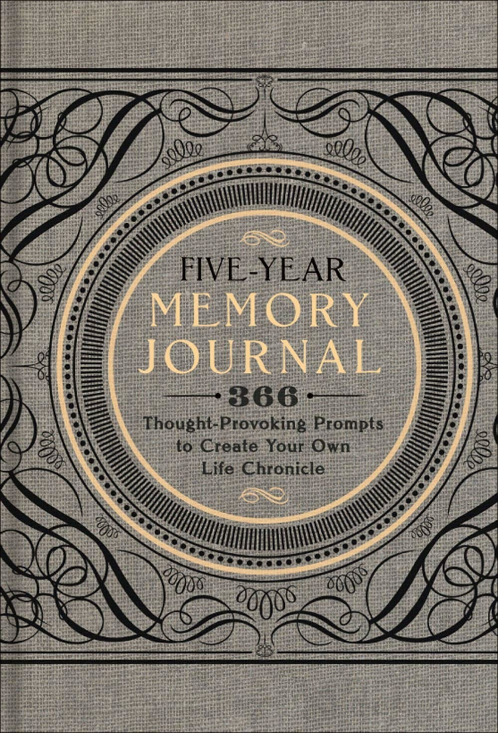 A grey cover of the five-year journal with a gorgeous vintage design