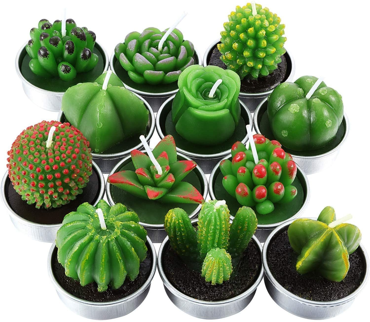 A set of 12 tealights shaped like different cacti and succulents