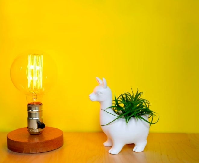 The white porcelain llama-shaped planter, with an opening in the back area for a small plant