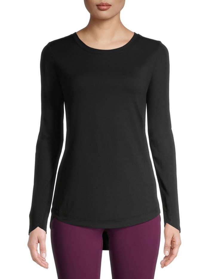 Model wears black long sleeve