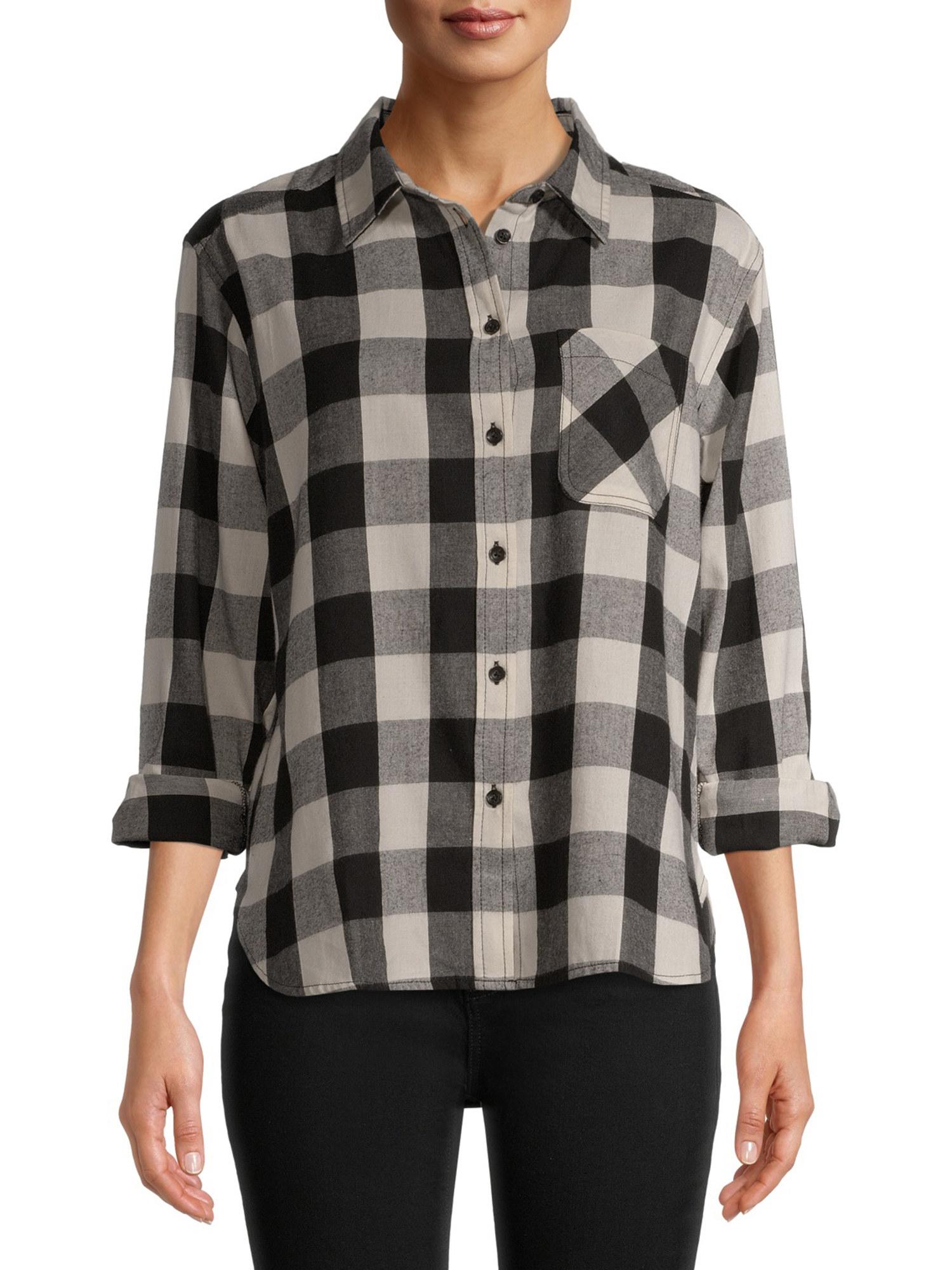 Model wears black and ivory buffalo plaid shirt