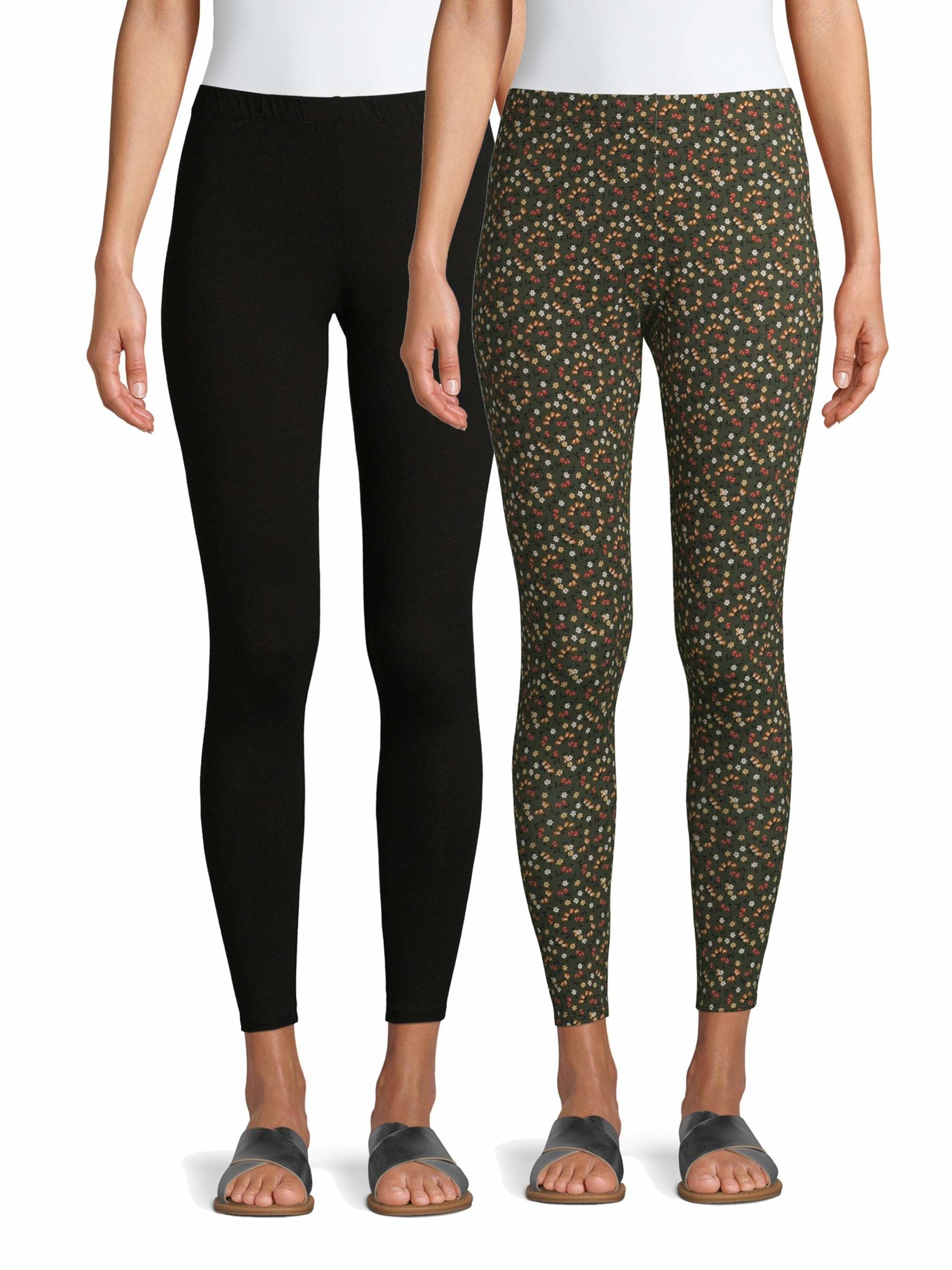 Models wears the two leggings, one green and yellow floral pattern and the other black