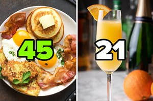 "A full breakfast is on the left labeled, ""45"" with a glass of mimosa on the right labeled ""21"""