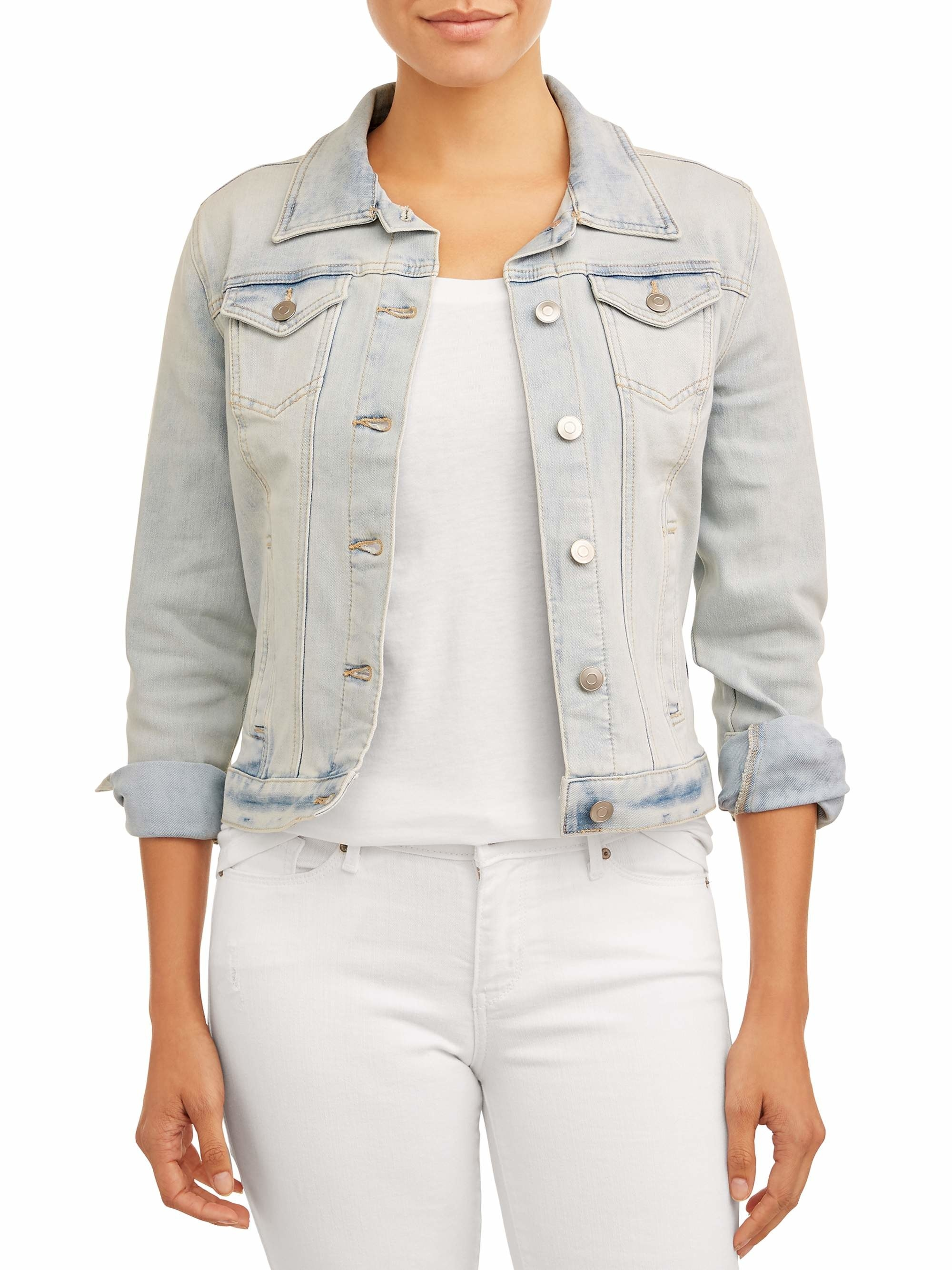 Model wearing the light wash jacket